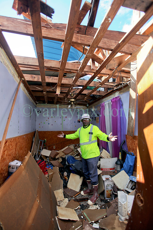 24 February 2016. Water tower Street, Convent, Louisiana.<br /> Devastation following a deadly EF2 tornado touchdown. 2 confirmed dead. <br /> Michael Davis (54 yrs) credits his faith for saving him from the deadly tornado which destroyed his house. <br /> Photo©; Charlie Varley/varleypix.com