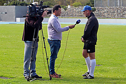 Head Coach Eric Tinkler speaks to the media after his new team's morning training session during the Cape Town City FC Media Open Day held at the Greenpoint Athletics Stadium in Cape Town, Western Cape, South Africa on the 19th August 2016.<br /> <br /> Photo by: Mark Wessels / Real Time Images.
