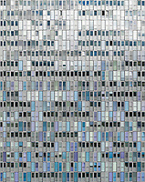 Aerial view of the building Shoppi Tivoli with many windows that looks like doors in a huge mosaic, in Spreitenbach, Aargau, Switzerland