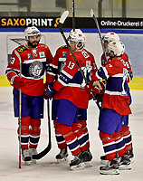Ishockey , <br /> Norge - Slovakia<br /> GRAZ,AUSTRIA,11.FEB.17 - ICE HOCKEY  - Oesterreich Cup, international match, Norway vs Slovakia. Image shows the rejoicing of Thomas Valkvae (NOR) and the team of Norway.<br /> <br /> Norway onlyNorway only