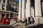 As the UK government lead by Prime Minister Boris Johnson urges Britons to avoid non-essential travel to EU countries, and to avoind contact with others in public places like pubs and theatres during the Coronavirus pandemic, few Londoners are seen at the Bank of England and Royal Exchange on the streets of the financial district, on 16th March 2020, in London, England.