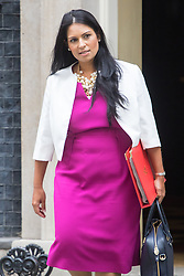 Downing Street, London, September 9th 2016.  International Development Secretary Priti Patel leaves 10 Downing Street following the weekly cabinet meeting.