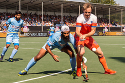 (L-R) Manpreet Singh of India, Jarmanpreet Singh of India, Mirco Pruyser of The Netherlands during the Champions Trophy match between the Netherlands and India on the fields of BH&BC Breda on June 30, 2018 in Breda, the Netherlands