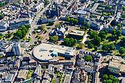 Nederland, Gelderland, Arnhem, 29-05-2019; zicht op het Spijkerkwartier (ook wel Spijkerbuurt) met Musispark en Musisgarage in de voorgrond. Musis Arnhem, concertzaal aan het Ve;perplein.  Woonwijk, in het verleden deels achterstandswijk en hoerenbuurt.<br /> View of the Spijker quarter  (Spijker neighbourhood) buurt), centre Arnhem.<br /> <br /> luchtfoto (toeslag op standard tarieven);<br /> aerial photo (additional fee required);<br /> copyright foto/photo Siebe Swart
