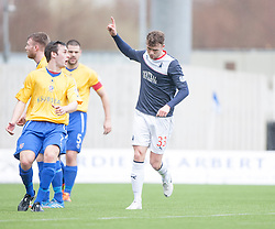Falkirk's Rory Loy cele scoring their first goal.<br /> Falkirk 5 v 0 Cowdenbeath, Scottish Championship game played today at The Falkirk Stadium.<br /> © Michael Schofield.