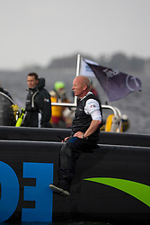 Kiel - Germany, 28th of August 2009. iShares cup. First day of racing...The first racing day consisting of 8 races. Picture shows Ecover just after they capsized between race 3 and 4.  Mike Golding sitting on the hull of Ecover.