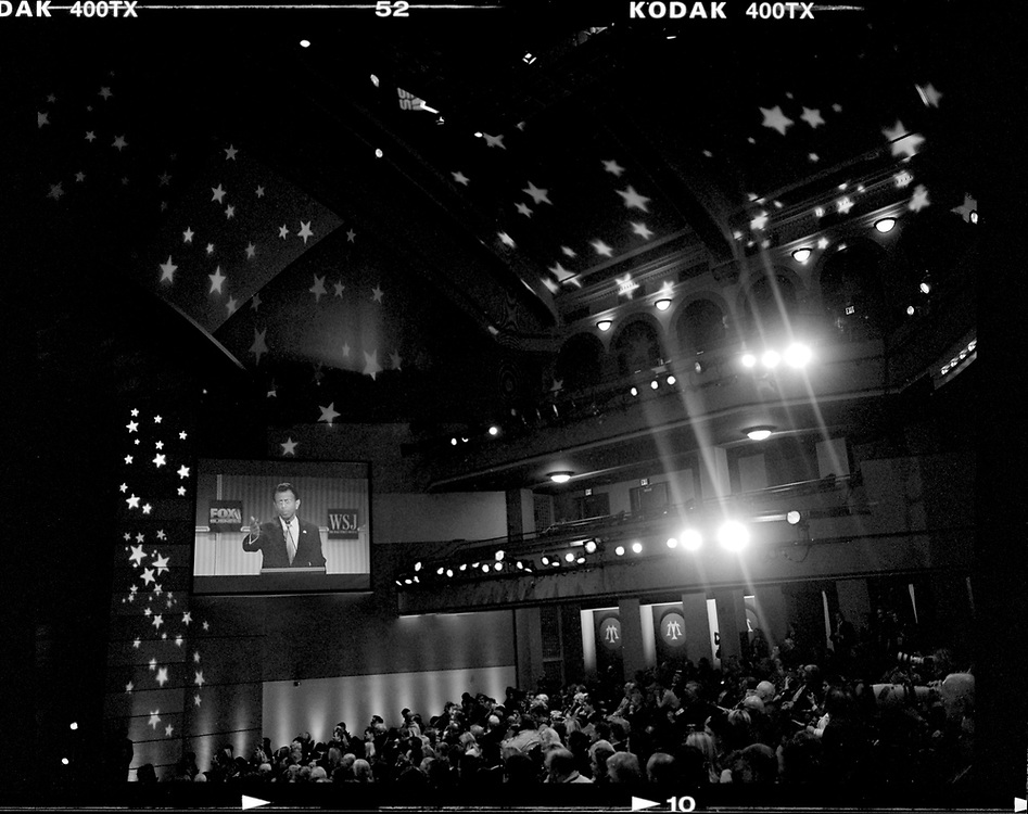 ´U.S. Republican presidential candidate Louisiana Governor Bobby Jindal is seen projected on a screen during a forum for lower polling candidates held by Fox Business Network before the 2016 U.S. Republican presidential candidates debate in Milwaukee, Wisconsin.  © Photo by Jim Young
