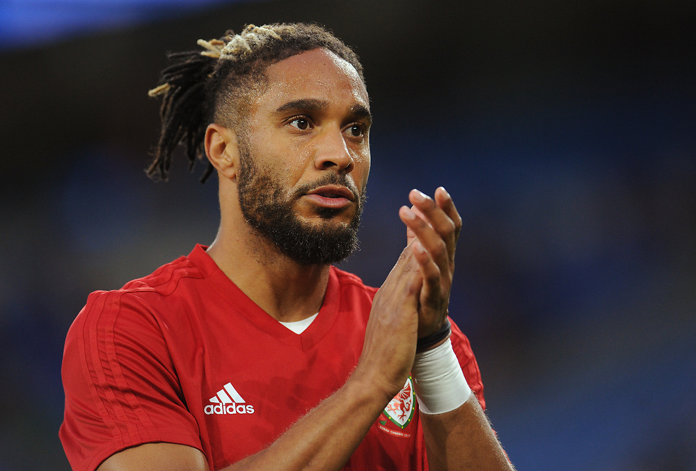 Wales' Ashley Williams during the pre-match warm-up <br /> <br /> Photographer Kevin Barnes/CameraSport<br /> <br /> UEFA Nations League - Group Stage - League B - Group 4 - Wales v Republic of Ireland - Thursday September 6th 2018 - Cardiff City Stadium - Cardiff<br /> <br /> World Copyright © 2018 CameraSport. All rights reserved. 43 Linden Ave. Countesthorpe. Leicester. England. LE8 5PG - Tel: +44 (0) 116 277 4147 - admin@camerasport.com - www.camerasport.com