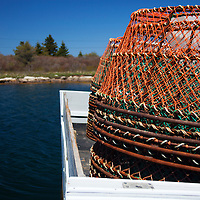 North America, Canada, Nova Scotia, Canso. Crab Cages for fishing at Fisherman's Market Wharf in Canso.