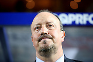 Rafa Benitez, the Newcastle United manager looks on from the dugout . EFL Skybet football league championship match, Queens Park Rangers v Newcastle Utd at Loftus Road Stadium in London on Tuesday 13th September 2016.<br /> pic by John Patrick Fletcher, Andrew Orchard sports photography.
