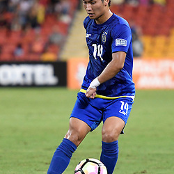 BRISBANE, AUSTRALIA - JANUARY 31: Hikaru Minegishi of Global FC passes the ball during the second qualifying round of the Asian Champions League match between the Brisbane Roar and Global FC at Suncorp Stadium on January 31, 2017 in Brisbane, Australia. (Photo by Patrick Kearney/Brisbane Roar)