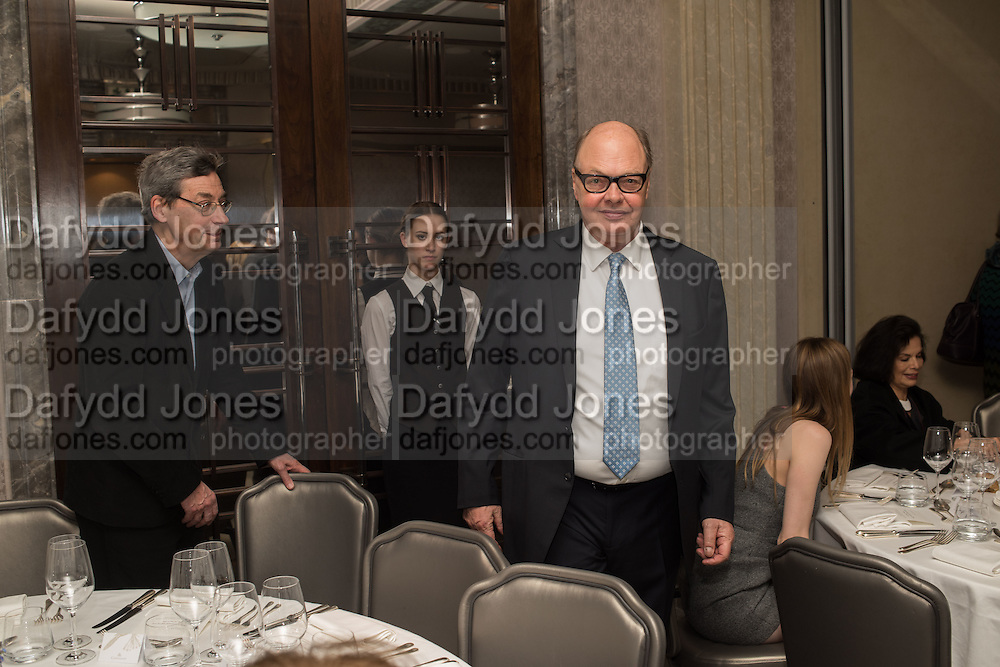 NICHOLAS LOGSDAIL, Anish Kapoor and Lee Ufan preview dinner hosted by the Lisson Gallery after the opening on Bell St. The Connaught. London. 23 March 2015