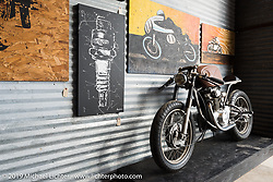 Blip Workshop's 1972 Honda CB350 on Friday before the grand opening that evening of the Handbuilt Motorcycle Show. Austin, TX. April 10, 2015.  Photography ©2015 Michael Lichter.
