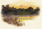 'Newstead Abbey, Nottinghamshire, England, originally an Augustinian priory founded by Henry II as a penance for the murder of Thomas Becket.   In 1798 it was inherited by the poet Lord Byron. Chromolithograph c1890.'