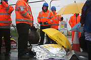 Day two of the Rolling Resistance, Preston New Road, Lancashire. Two activists managed to lock themselves down and block the gates.  A lock-on, where two or more lock themselves together inside a re-inforced tube is used as a peaceful non-violent way of blocking the gates.to the site.The New Preston Road Quadrilla site is almost ready to start drilling for shale gas after many delays caused by local objections. Lancashire County council voted against fracking but the conservative central government forced it through.