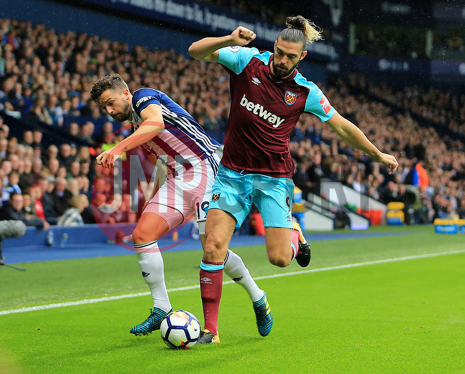Andy Carroll of West Ham United battles with Jay Rodriguez of West Bromwich Albion - Mandatory by-line: Paul Roberts/JMP - 16/09/2017 - FOOTBALL - The Hawthorns - West Bromwich, England - West Bromwich Albion v West Ham United - Premier League