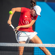 TOKYO, JAPAN - JULY 20: Iga Swistek of Poland practicing at Ariake Tennis Park in preparation for the Tokyo 2020 Olympic Games on July 20, 2021 in Tokyo, Japan. (Photo by Tim Clayton/Corbis via Getty Images)