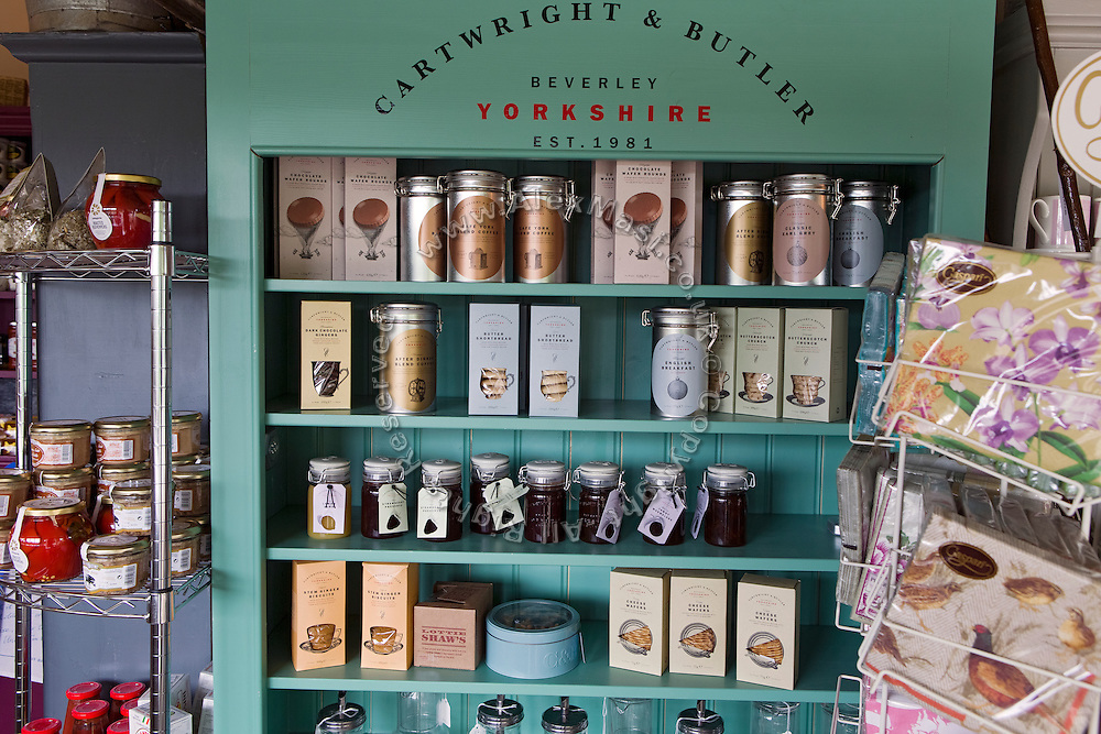 Traditional culinary items are on sale in a shop in Beningbrough, Yorkshire, England, United Kingdom.