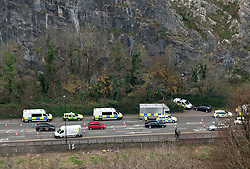 © Licensed to London News Pictures. 04/12/2014. Bristol, UK. Police with specialist climbing teams search the Avon Gorge after a body, now confirmed as that of Charlotte Bevan, was found last night in the search for new mother Charlotte Bevan age 30 and her 4 day old baby daughter Zaani Tiana Bevan Malbrouck who went missing on Tuesday night from St Michael's Hospital in Bristol. Photo credit : Simon Chapman/LNP