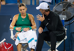 August 15, 2018 - Simona Halep of Romania and Daren Cahill, coach, of Australia in action during her second-round match at the 2018 Western & Southern Open WTA Premier 5 tennis tournament (Credit Image: © AFP7 via ZUMA Wire)