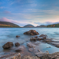 Dusk slowly settles over the waters of Eagle Lake in Acadia National Park, Maine.