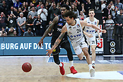 Basketball: 1. Bundesliga, Hamburg Towers - Hakro Merlins Crailsheim 91:92, Hamburg, 29.02.2020<br /> Michael Carrera (Towers, r,)<br /> © Torsten Helmke