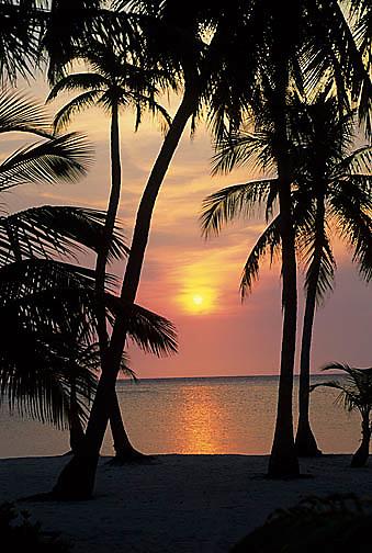 Honduras, Sun setting over the Gulf of Mexico.