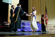 SHOT 5/10/15 3:14:37 PM - Naropa University Spring 2015 Commencement ceremonies at Macky Auditorium in Boulder, Co. Sunday. Parker J. Palmer, a world-renowned author and activist known for his work in education and social change, delivered the commencement speech to more than 300 graduate and undergraduate students along with Naropa faculty and graduate's family members. Naropa University is a private liberal arts college in Boulder, Colorado founded in 1974 by Tibetan Buddhist teacher and Oxford University scholar Chögyam Trungpa. (Photo by Marc Piscotty / © 2014)