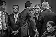 Former U.S. Senator Mary Landrieu  now an lobbyiest for industry, with politicans and industry represantivies at   a permit hearing for the Bayou Bridge pipeline.