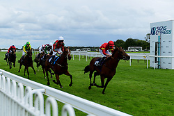 Coul Kat ridden by Liam Keniry and trained by Rod Millman in the visitbath.co.uk Nursery Handicap, Devil's Cub ridden by Tom Marquand and trained by Tom Ward in the visitbath.co.uk Nursery Handicap - Mandatory by-line: Ryan Hiscott/JMP - 24/08/20 - HORSE RACING - Bath Racecourse - Bath, England - Bath Races