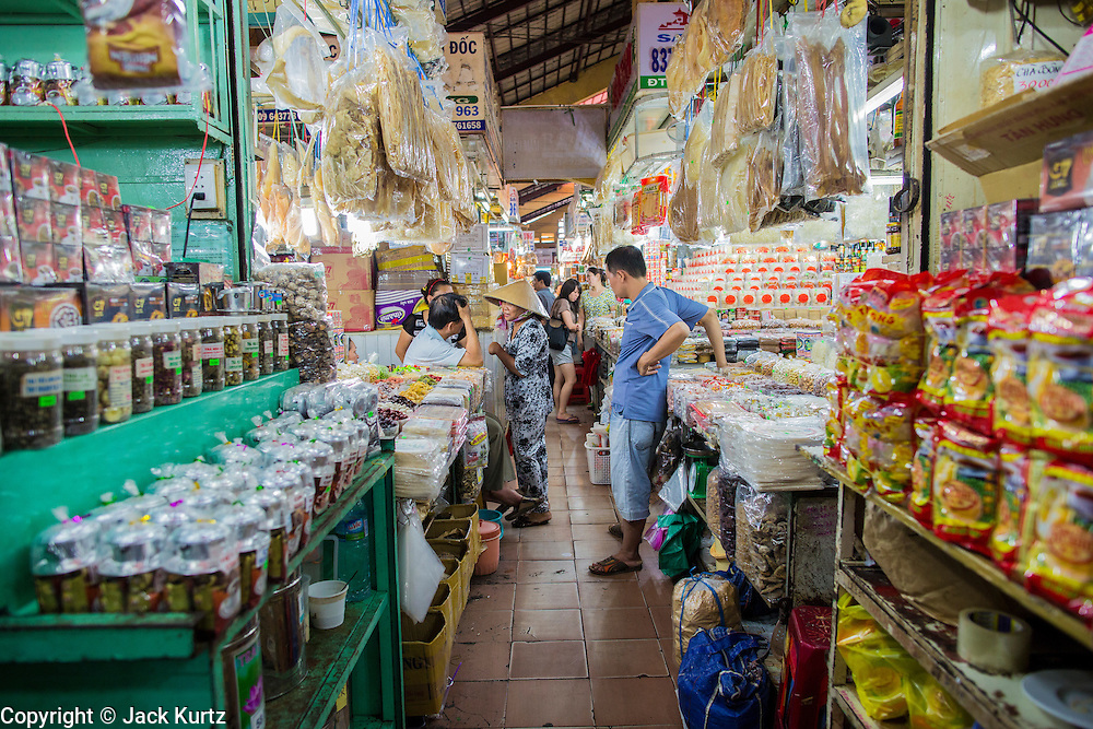 27 MARCH 2012 - HO CHI MINH CITY, VIETNAM:   An aisle in Ben Thanh Market, the main market in Ho Chi Minh City, Vietnam. The market has become the main tourist market. Ho Chi Minh City, which used to be known as Saigon, is the largest city in Vietnam and the commercial hub of southern Vietnam.     PHOTO BY JACK KURTZ