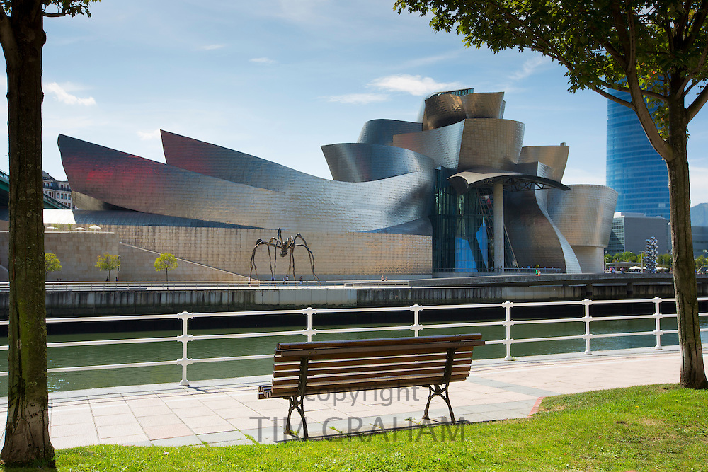 Architect Frank Gehry's Guggenheim Museum futuristic design from across River Nervion at Bilbao, Basque country, Spain