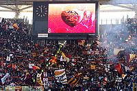 """AS roma fans with AS Roma shield on the screen<br /> Tifosi della Roma  <br /> Roma 24/2/2008 Stadio """"Olimpico"""" <br /> Campionato Italiano Serie A<br /> Roma Fiorentina (1-0)<br /> Foto Andrea Staccioli Insidefoto"""