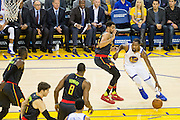 Golden State Warriors forward Kevin Durant (35) drives to the basket against the Atlanta Hawks at Oracle Arena in Oakland, Calif., on November 28, 2016. (Stan Olszewski/Special to S.F. Examiner)