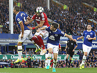 Middlesbrough's Alvaro Negredo wins an aerial ball into the box late in the game despite the attentions of Everton's Phil Jagielka<br /> <br /> Photographer Rich Linley/CameraSport<br /> <br /> The Premier League - Everton v Middlesbrough - Saturday 17th September 2016 - Goodison Park - Liverpool<br /> <br /> World Copyright © 2016 CameraSport. All rights reserved. 43 Linden Ave. Countesthorpe. Leicester. England. LE8 5PG - Tel: +44 (0) 116 277 4147 - admin@camerasport.com - www.camerasport.com
