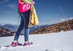 THEMENBILD - eine Wanderin steht auf der frisch präparieten Skipiste, aufgenommen am 12. Oktober 2018, Jochberg, Österreich // a hiker stands on the freshly prepared ski slope on 2018/10/12, Ort, Austria. EXPA Pictures © 2018, PhotoCredit: EXPA/ Stefanie Oberhauser