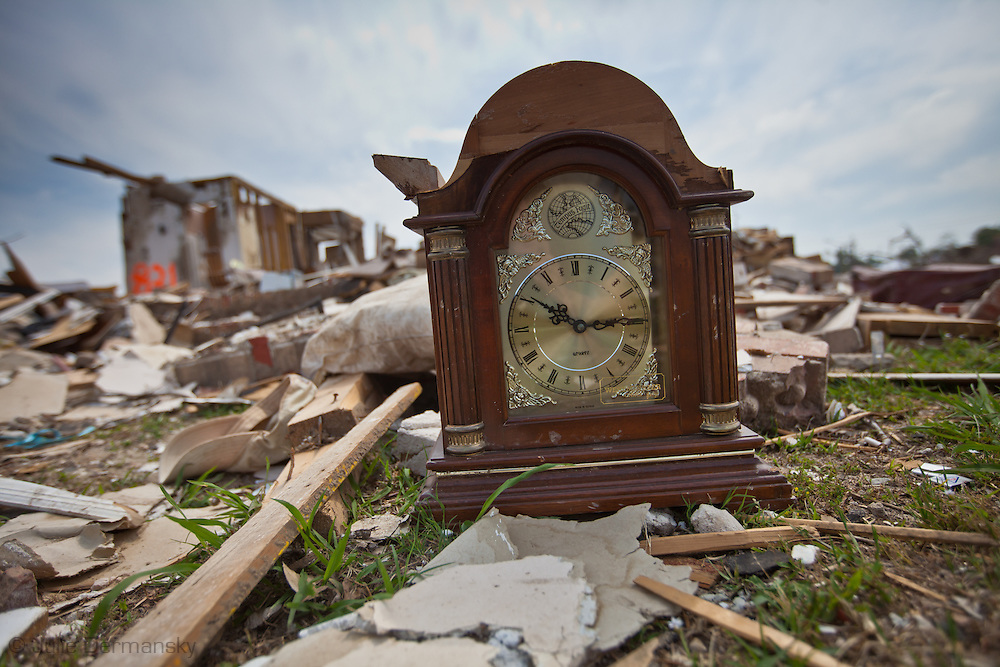 A clock stopped at the time a tornado hit Pleasant Grove Alabama.  Pleasant Grove remains in a state of ruin over two weeks after it was hit by an F-4 ( possibly an F-5) tornado, one of an estimated 300 that struck Alabama and the neighboring states on April 27th .