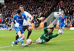 Ian Henderson of Rochdale fires a shot at goal past Daniel Bachmann of Bury  - Mandatory byline: Matt McNulty/JMP - 06/12/2015 - Football - Spotland Stadium - Rochdale, England - Rochdale v Bury - FA Cup
