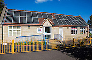 The solar array on the roof of Oldfield Park Infant School. Installed with the support of Bath and West Community Energy a community project. Bath, Somerset.