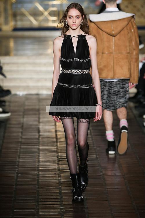 Lia Pavlova walks the runway wearing Alexander Wang Fall 2016 during New York Fashion Week on February 13, 2016