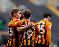 Hull City's Keane Lewis-Potter celebrates with Greg Docherty after scoring scores his side's second goal in the 71st minute to makeit 2-0<br /> <br /> Photographer Lee Parker/CameraSport<br /> <br /> The EFL Sky Bet League One - Hull City v Oxford United - Saturday 13th March 2021 - KCOM Stadium - Kingston upon Hull<br /> <br /> World Copyright © 2021 CameraSport. All rights reserved. 43 Linden Ave. Countesthorpe. Leicester. England. LE8 5PG - Tel: +44 (0) 116 277 4147 - admin@camerasport.com - www.camerasport.com