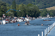"""Henley on Thames, United Kingdom, 8th July 2018, Sunday, Umpire, Boris RANKOV, warns, Long and Scott, Marlow and Bann RCs' during the final of the  """" The """"Hambleden Challenge Trophy"""", """"Fifth day"""", of the annual,  """"Henley Royal Regatta"""", Henley Reach, River Thames, Thames Valley, England, © Peter SPURRIER,"""