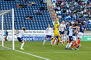 Natalia Voskobovich (#1) of Belarus punches clear from a corner during the FIFA Women's World Cup UEFA Qualifier match between Scotland Women and Belarus Women at Falkirk Stadium, Falkirk, Scotland on 7 June 2018. Picture by Craig Doyle.