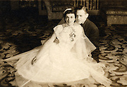 Old wedding photograph of couple.