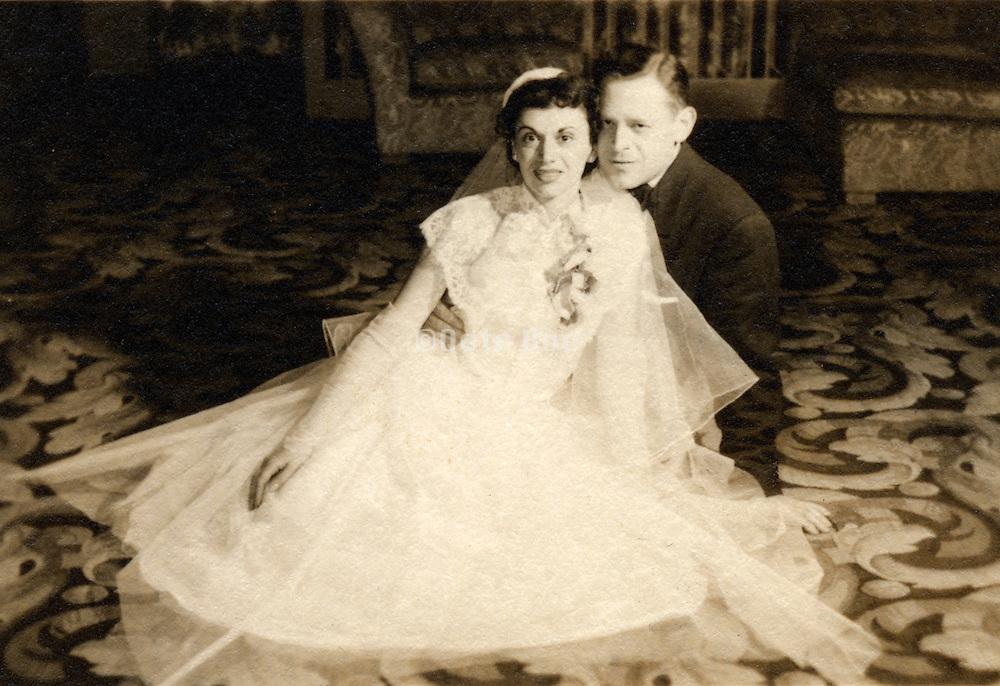 Old wedding photograph of couple.
