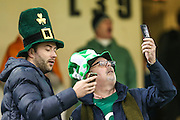 Irish ruby supporters during the Rugby World Cup Quarter Final match between Ireland and Argentina at Millennium Stadium, Cardiff, Wales on 18 October 2015. Photo by Shane Healey.