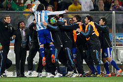 Carlos Tevez of Argentina celebrates after his second goal during the 2010 FIFA World Cup South Africa Round of Sixteen match between Argentina and Mexico at Soccer City Stadium on June 27, 2010 in Johannesburg, South Africa. (Photo by Vid Ponikvar / Sportida)