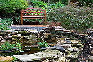 65021-028.04 Shade garden with pond, bench, hostas, ferns, Japanese maples, St. Louis  MO