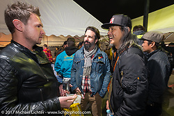 Charlie Stockwell with friends at the Mooneyes Area-1 BBQ party. Yokohama, Japan. Monday December 4, 2017. Photography ©2017 Michael Lichter.
