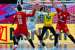 Luisa Schulze of Germany, Marta Gega of Poland, Joanna Szarawaga of Poland during the Women's EHF Euro 2020 match between /Germany and Poland at Sydbank Arena on december 07, 2020 in Kolding, Denmark (Photo by RHF Agency/Ronald Hoogendoorn)